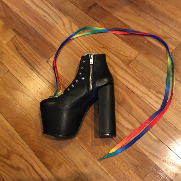 UNIF Shoes - UNIF HELLBOUND LEATHER PLATFORM HEELS
